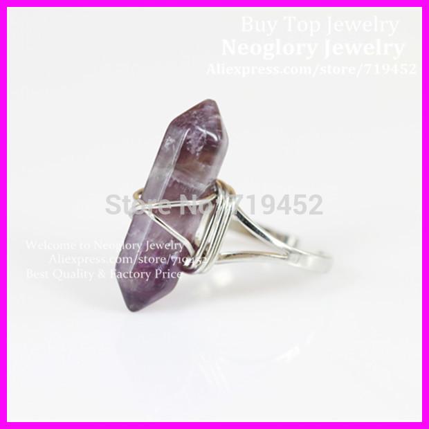 10pcs <font><b>Raw</b></font> <font><b>CRYSTAL</b></font> Point Gems Stone <font><b>Ring</b></font> Wrapped Silver <font><b>Ring</b></font>,<font><b>Crystal</b></font> Quartz Hexagon Druzy <font><b>Ring</b></font> Silver <font><b>ring</b></font> image