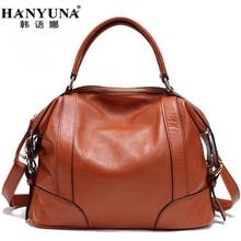 HANYUNA BRAND 2017 New Fashion Cow Leather Women Handbags 100 Genuint Leather Ladies Girls Totes Elegant