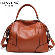 HANYUNA BRAND 2017 New Fashion Cow Leather Women Handbags 100% Genuint Leather Ladies/Girls Totes Elegant Female Hobos