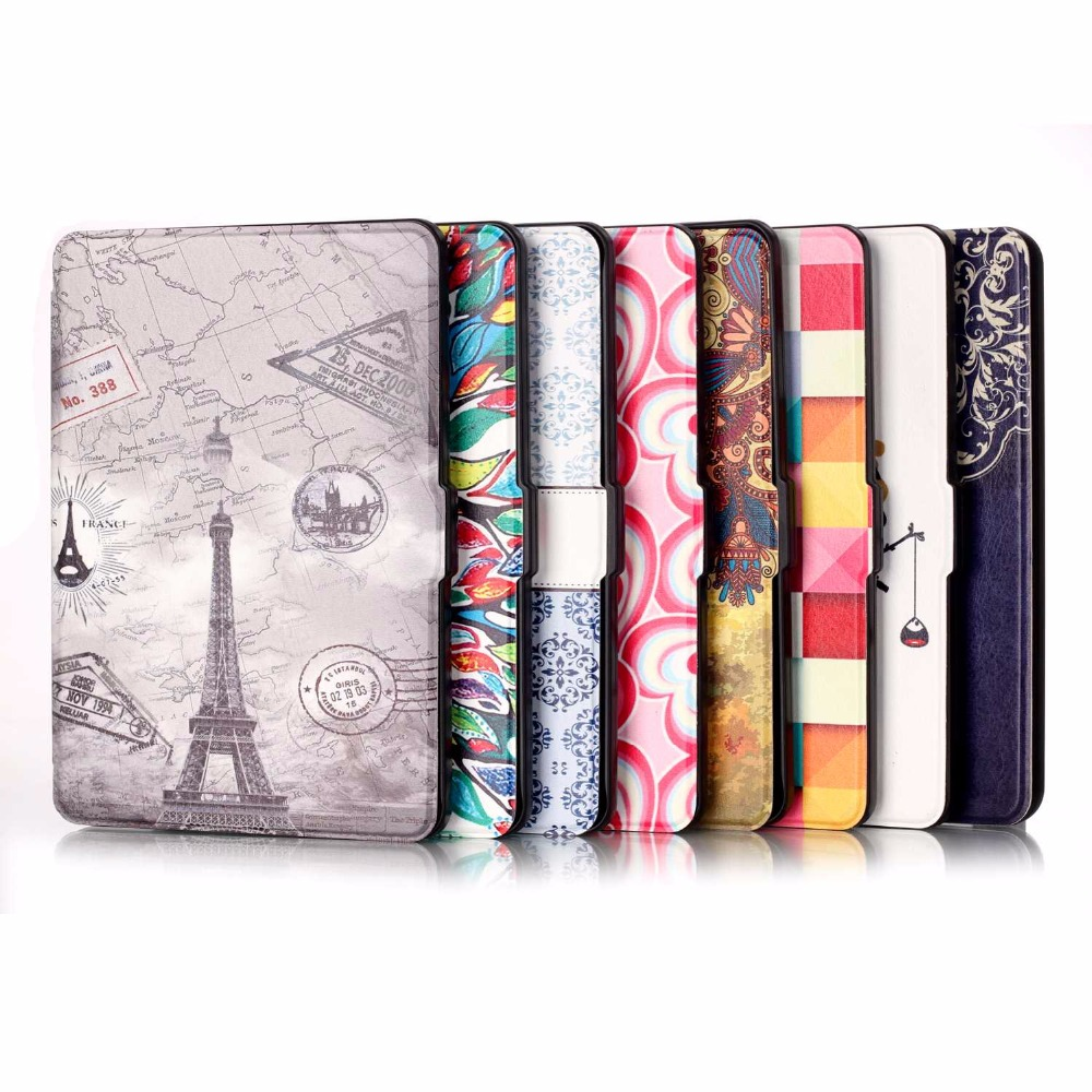 GOOYIYO - Painting Case For Amazon Kindle Paperwhite Ereader 2012 2013 2015 Magnet PU Leather Case Cover Tablet Slim Shell