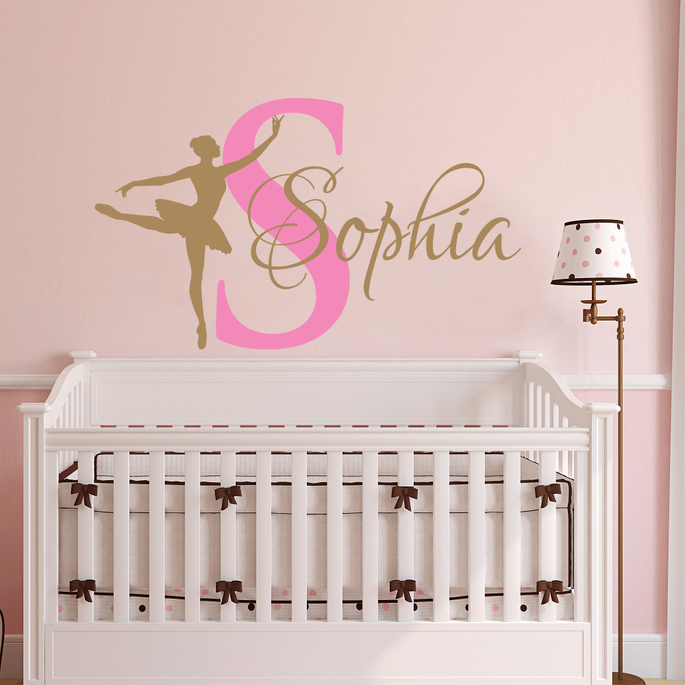 Ballerina Dancing Custom Girl Name Wall Sticker Ballet Dance Vinyl Decal Personalized Girls Living Room