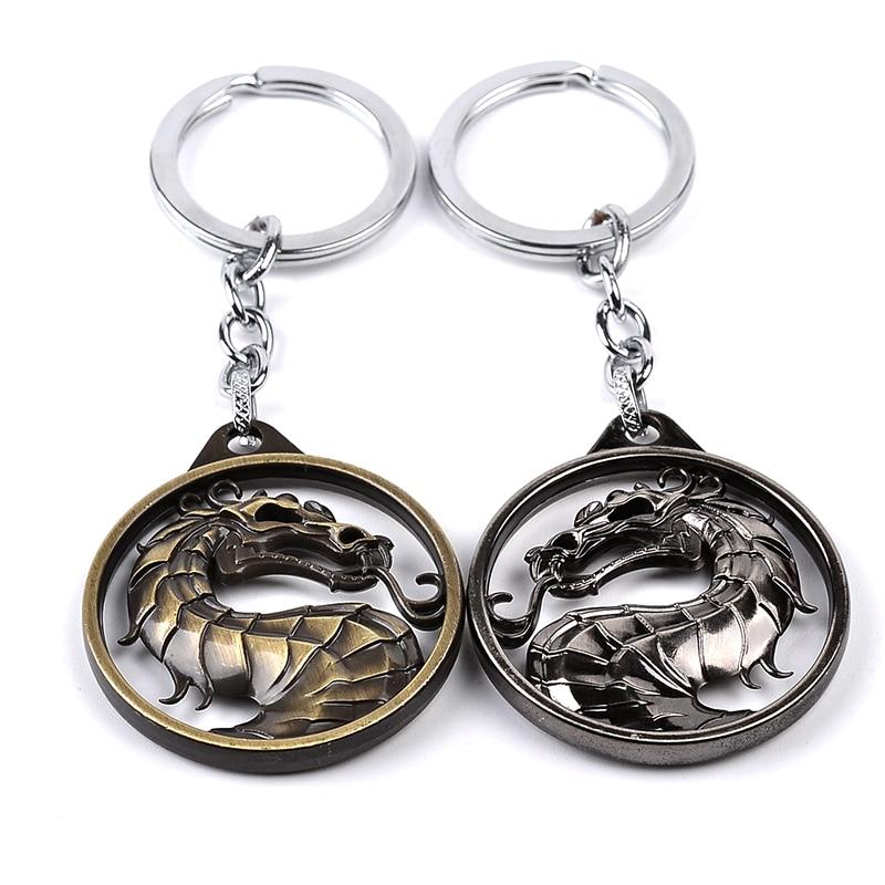 Mortal Pendant Dragon Jon Keychain Vintage Metal Key Holder Video Game Car Key Ring Movie Chaveiro Jewelry Gift for Women Men