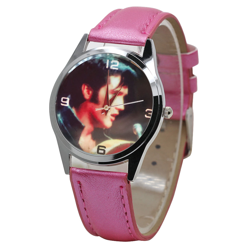 Children's Watch Classic Cartoon Elvis Quartz Movement Boy Sports Clock Girl Pink Leather Casual Bracelet Relogio