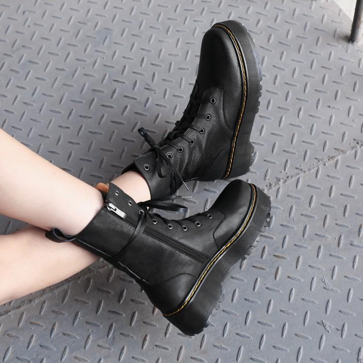 Mujer Pie De Para Plataforma Atado Las Tacón Redondo Mujeres Cruz Remaches Del Martin Invierno Dedo Lujo Zapato Botas Medio Zapatos Cuero Negro TXvrTq