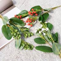 3 Forks Artificial Flower Plastic Red Bean Branch Berry Fake Hypericum Fruit Flower Home Shop Table Floral Decoration