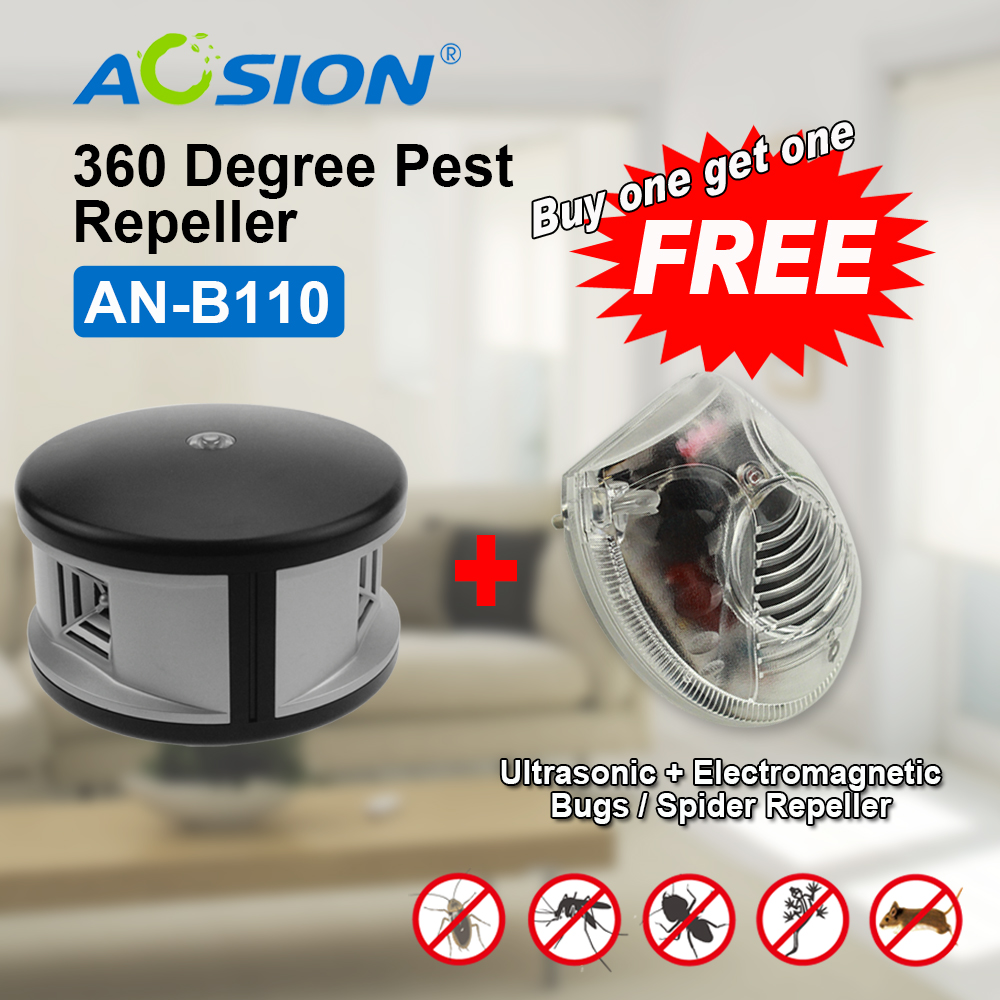 Aosion pest offense electronic pest repeller home GS/ BS/ UL plug ultrasonic mouse repeller (got a GS plug spider repeller free)