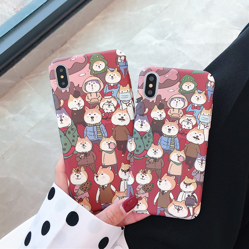 KIPX1098_1_JONSNOW All-inclusive Phone Case for iPhone XR XS Max 7 8 Plus 6 6S 6 Plus Funny Cute Dogs Chick Duck Pattern Hard PC Back Cover Capa Fundas
