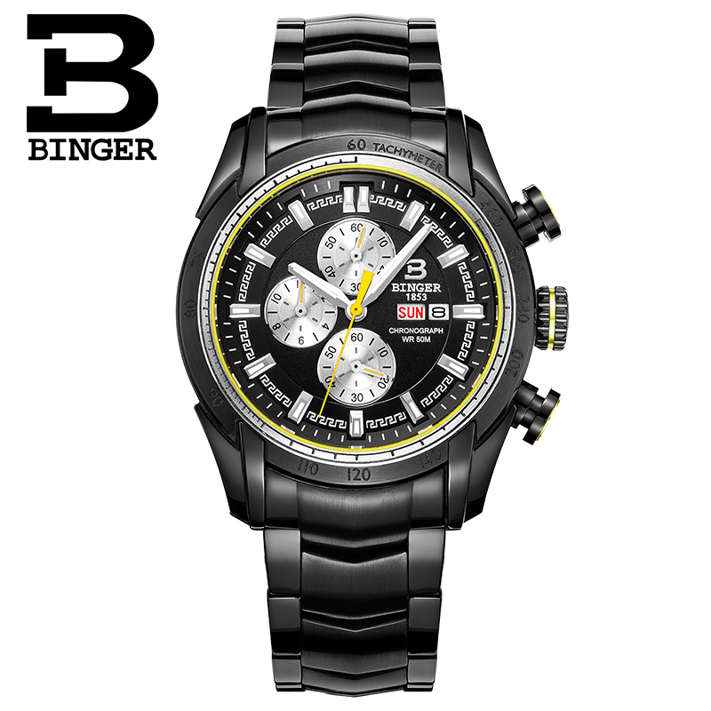 Binger Brand Wristwatch Top Luxury Steel Man Watches Business Quartz Watch Auto Date Waterproof Relogio Masculino Relojes Hombre