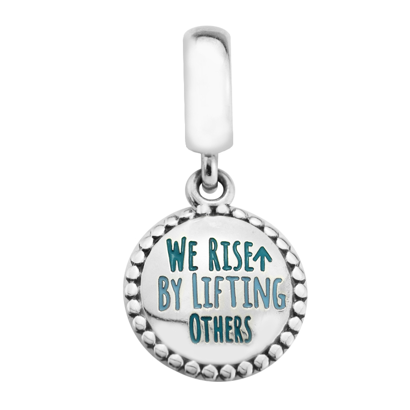 Authentic 925 Sterling Silver Bead We Rise By Lifting Others Pendant Charm Fit Women Pandora Bracelet & Necklace Jewelry Making