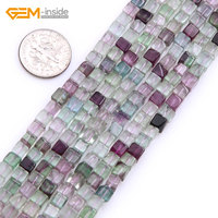 Gem Inside Natural Cube Shape Fluorite Stone Beads For Jewelry Making 6 12mm 15inches DIY Jewellery