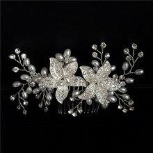 Nupcial peine del pelo del peine Del Pelo con perlas de la boda, de la boda, accesorios para el Cabello de la perla Nupcial Peine, peine De bodas de Cristal, Principal nupcial piezas