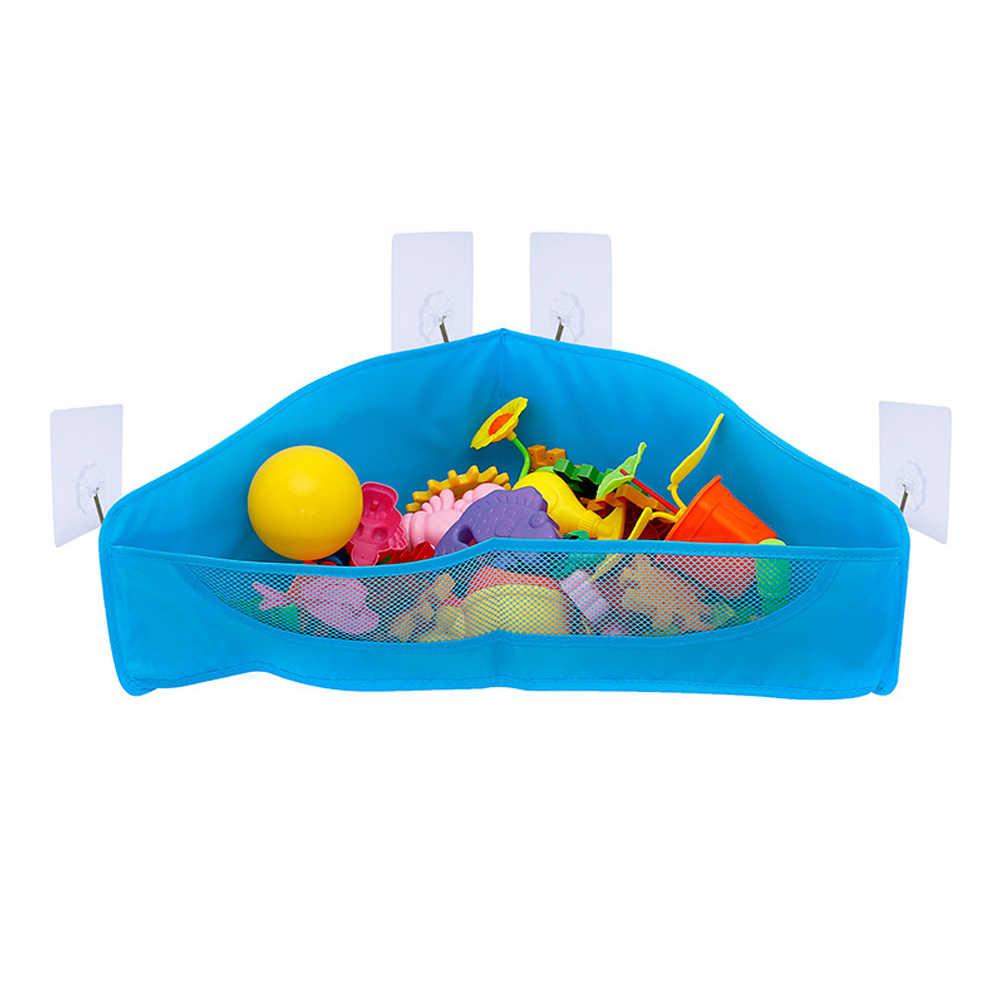 Pendurado Organizador Dobrável Saco de Armazenamento Brinquedo Do Banho Net Cesta de Economia de Espaço Malha Bolsos de Sucção Titular Container Crianças Duráveis