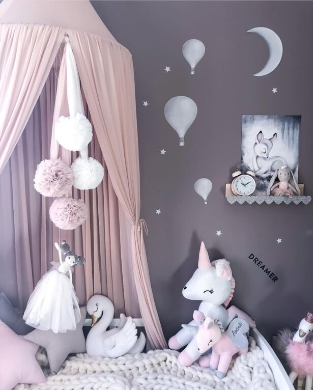 2019 Kids Princess Canopy Bed Curtain Canopy Kids Room Decoration Baby Round Mosquito Net Tent Curtains Children Crib Netting