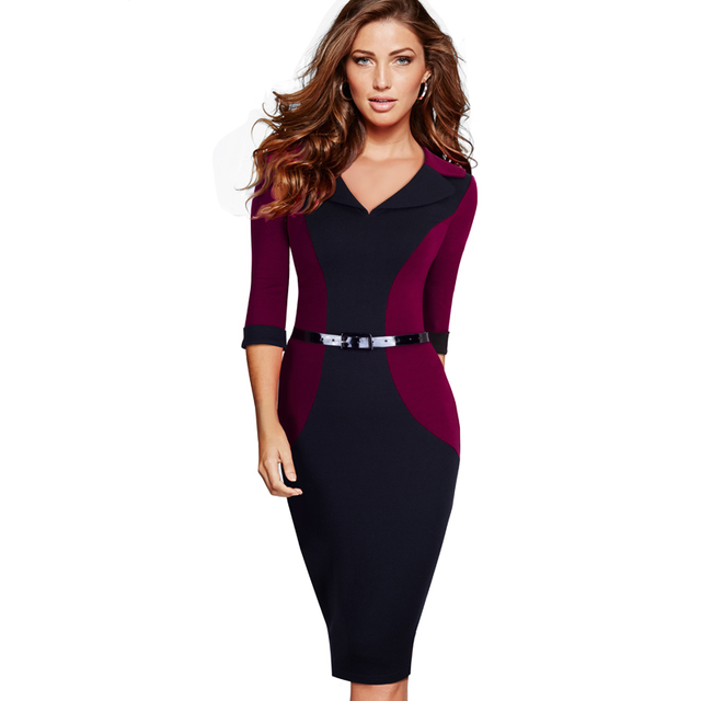Professional Women Elegant Casual Work Business Office Classic V Neck Belted Colorblock ...