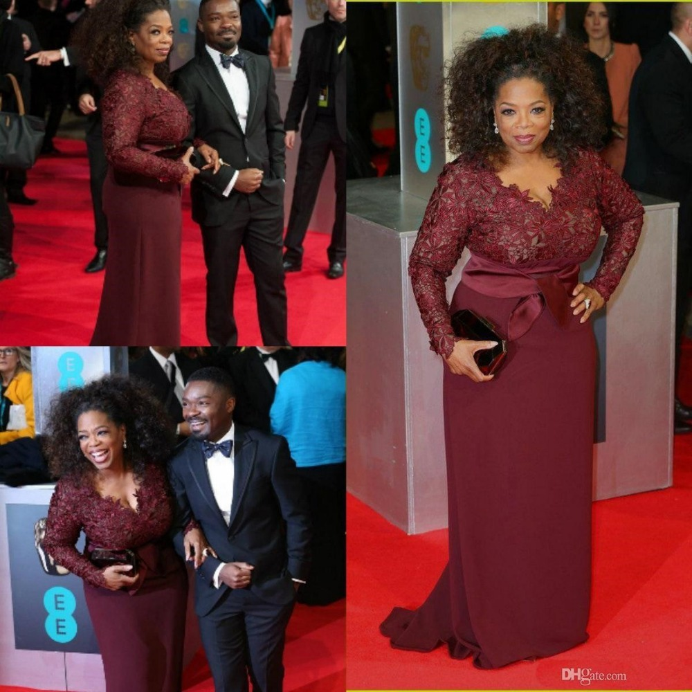 Porm celebrity hairstyles - 2016 Burgundy Long Sleeves Sexy Mother Of The Bride Dresses V Neck Lace Sheath Plus
