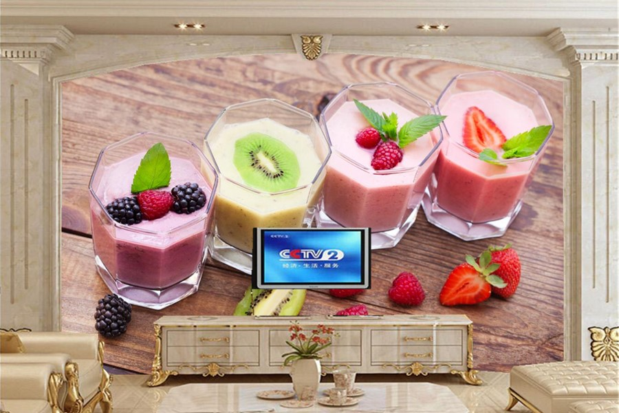 Custom 3d wall murals wallpaper,fruit Drinks glass Food wallpaper,restaurant dinig room tv sofa wall kitchen papel de parede