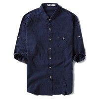 Plus Size M 5XL 100 Cotton Linen Solid Shirts Leisure Business Men Shirts Half Sleeve Slim