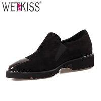 WETKISS Cool Rivet Metal Decoration Pumps New Arrival Superstar Shoes Woman 2017 Slip On Ladies Footwear