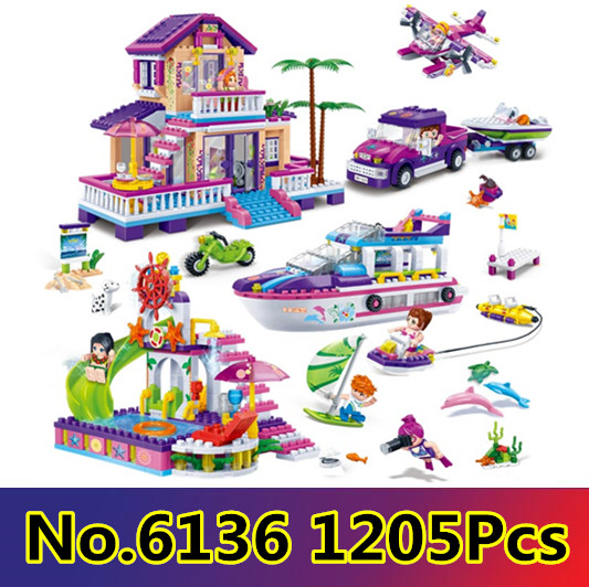 Model building kits compatible with lego city girls friends Gold Coast 1205 pcs 3D block Educational model building toys hobbies model building kits compatible with lego city girl friends 4 in 1 mini street view 3d blocks model building toys hobbies