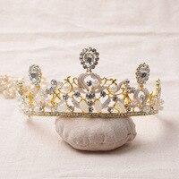 Màu vàng Bridal Tiara Cho wedding Party Thái Phụ Nữ ăn mặc Hairwear phụ kiện Tóc Ngà Pha Lê Với Trân mũ nón Làm Bằng Tay