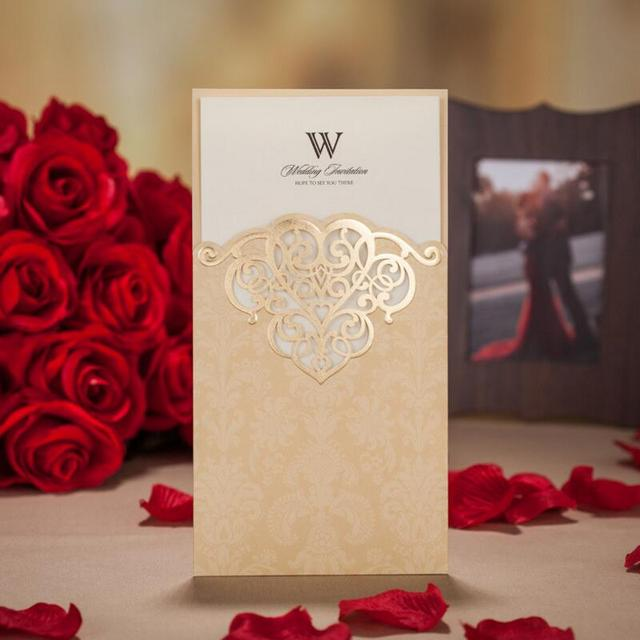 50pcs Pack Gold Cover Wedding Invitation Cards Printable Customize Suppliers Birthday Party Free Printing