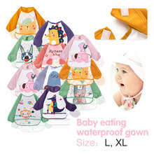Feeding Accessories Baby Bibs Infant Burp Cloths Toddler Scarf Feeding Smock Long Sleeve Waterproof Coverall Animals Baby цена