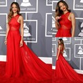 Inspired by Rihanna Dresses 55th Grammy Awards A Line Sheer Crisscross Chiffon Red Open Back Celebrity Dresses