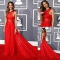 Vestidos inspirado por Rihanna grammy Awards A Linha Sheer Cruzado Chiffon Red Traseira Aberta Celebrity Dresses
