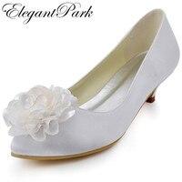 EP2093 Phụ Nữ giày cưới màu trắng ngà Toe Nhọn Hoa Thấp gót chân Cộng Với Kích Thước Nghi Cô Dâu Bơm Satin Lady Bridal Đảng gót