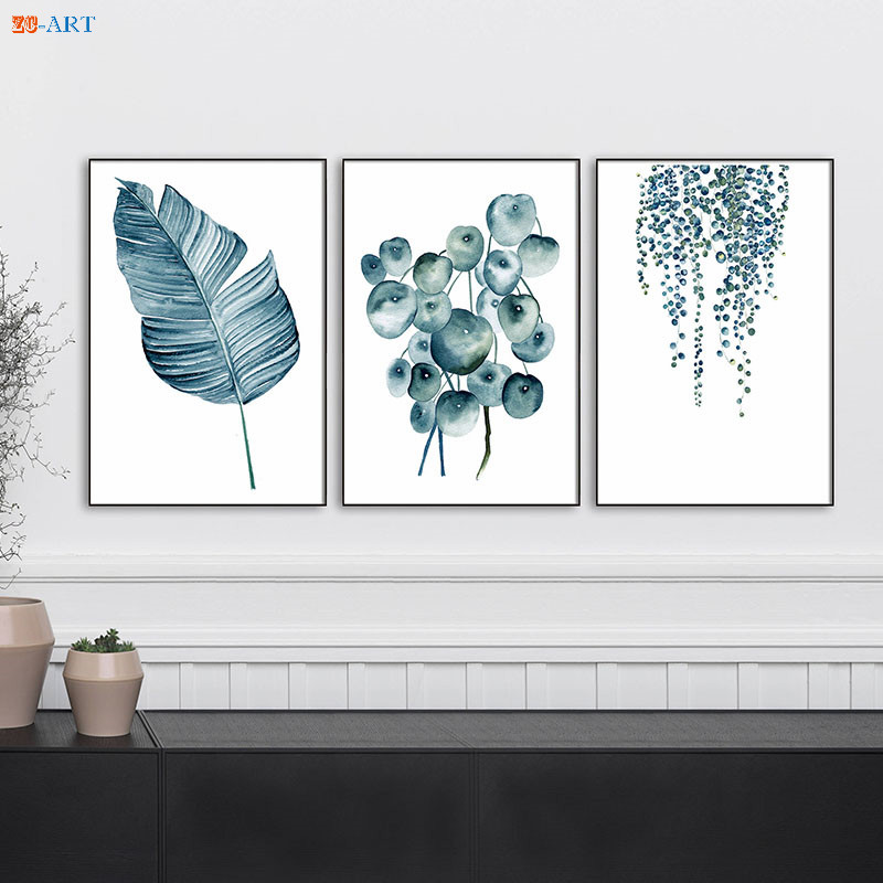 Botanical Leaf Art Print Blue Flower Poster Wall Art Minimalist Canvas Painting Wall Pictures