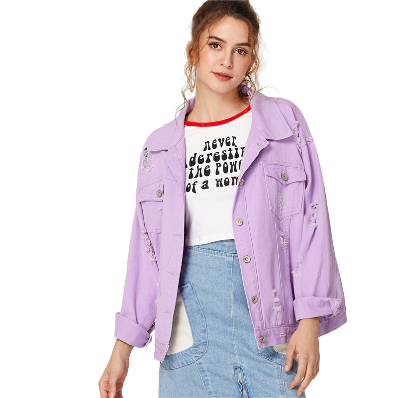 COLROVIE Ripped Drop Shoulder Women Denim Jackets Black White Oversize Purple Casual Female Jacket Coat Chic Jacket for Girls 20