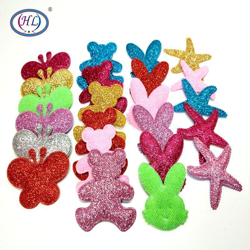 HL 10 unidades/pacote Grande Brilho Apliques Acolchoadas Misturar Cores Decorações Do Casamento Bonecas de Costura DIY Acessórios de Vestuário Remendo