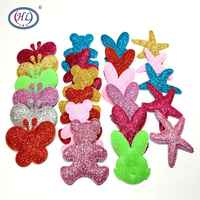 HL 10pcs/package Big Glitter Padded Appliques Mix Colors Wedding Decorations Garment Dolls Sewing Accessories DIY Patch