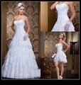 Imagem Real namorada branco vestido de baile vestido de novia Lace vestidos de casamento com destacável Train nupcial da noiva vestidos de 2016