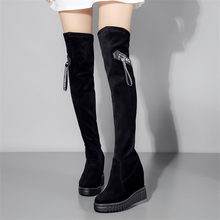 Platform Creepers Women Cow Leather Stretch High Heel Over The Knee Long Boots Wedges Thigh High Boots Round Toe Sneaker Shoes 15cm high heel classics women boots thigh high boots platform round toe thin high shoes red bottom shoes custom any colors