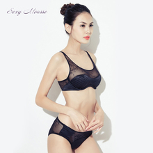 sexy mousse luxurious elegant bra and briefs sets black white lace full cup women underwear new arrival see through pants