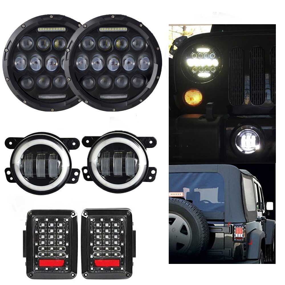 7 Inch Round 75W High/Low/DRL Led Headlight + 4 Inch 30W White Halo Wrangler Jk Fog Headlight + Tail Lights For Jeep Wrangler black chrome round 75w high low beam drl led auto headlight driving fog lights for jeep wrangler hummer h1 h2 offroad