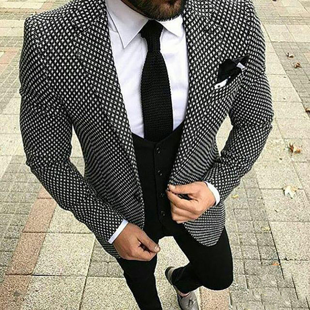Black And White Pattern Men Suits 2018 Custom Made Smart Casual