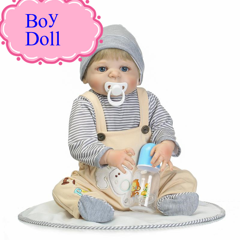 NPK 22inch Full Silicone Reborn Bebe Babies Boy Doll With Blue Or Brown Eyes About 57cm Play House Doll Toys Girl Brinquedos 52cm reborn babies blue eyes magnetic mouth soft touch silicone doll reborn boy girls toys bear plush doll bebe gift reborn
