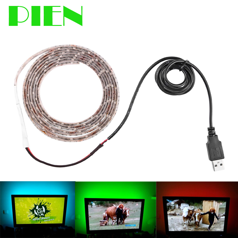 USB 1m 5V Led Strip Light Waterproof Ribbon with USB Cable Port 100cm for Flat Screen Backlight LCD adhesive Tape Free shipping