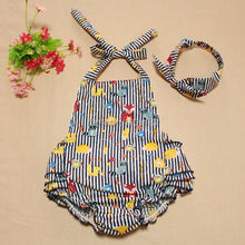 Strip Girls Cotton Baby Romper with Bow Knot Headband Boutique Outfit