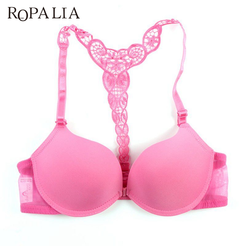 be11c6c04b6da Dropwow ROPALIA Sexy Front Closure Smooth Bras Charming Lace Racer Back Racerback  Push Up Bras