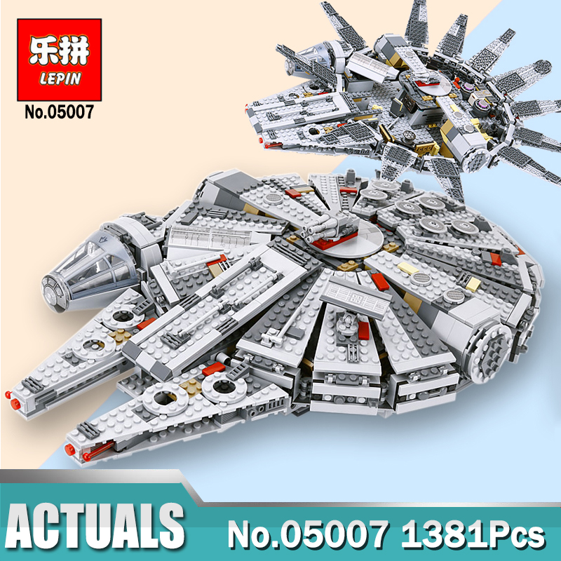 Hot Lepin 05007 Star Series Force Awakens Millennium Building Falcon Blocks Compatible Legoingly 75105 Kids Lepin Wars Toys lepin 1022pcs star series wars captain rex s at te building blocks brick lepin 05032 boys toys gift compatible legoingly 75157