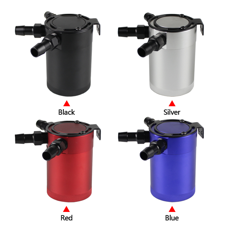 Universal Racing Car Baffled 3 Port Oil Catch Can Air Oil Separator Aluminum Oil Catch Tank Black Red Blue Silver RS OCC011 in Fuel Tanks from Automobiles Motorcycles
