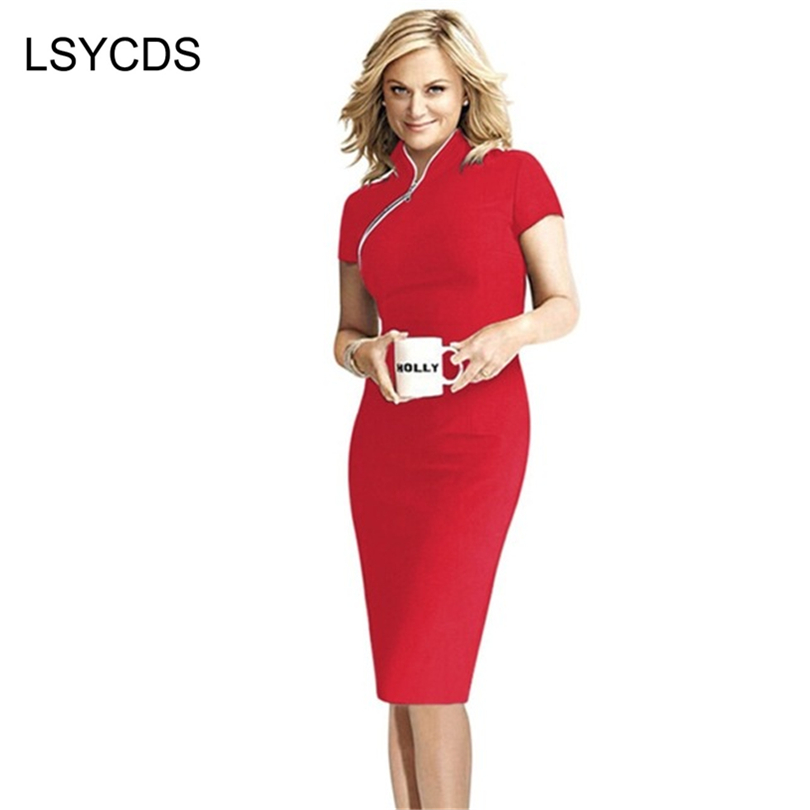 Summer Elegant Pepejal Front Zipper Cotton Blends Wear to Work Party Bodycon Pencil Dresses