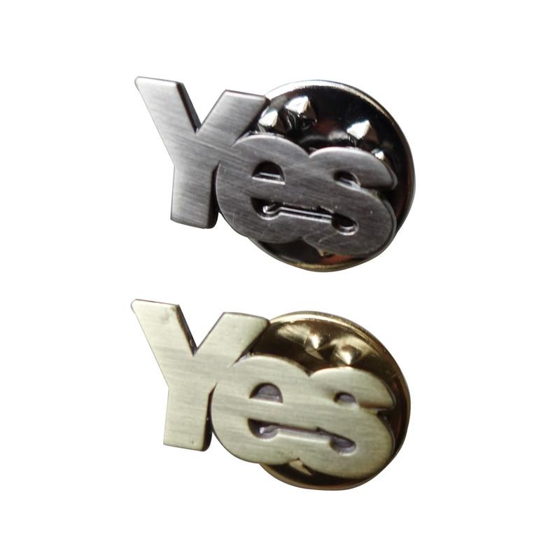 20mm Metall Brief Ja abzeichen pin (eisenplatten in antike bronze oder alte silber + schmetterling button zurück) versandkosten (300 teile/los)-in Nadeln & Abzeichen aus Heim und Garten bei  Gruppe 1