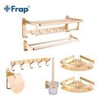 FRAP пространство алюминиевый оборудование для ванной устанавливает настенные Ванная комната Продукты Золото Цвет аксессуары для туалетной