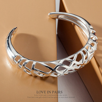 SILVERAGE 925 Sterling Silver Jewelry For Women Hollow Braid Cuff Bangle Bracelets Original Brand