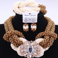 New Gold Chocolate Earrings Necklace Jewelry Set Natural Crystal Beads African Indian Wedding Jewelry Set Women's Jewelry