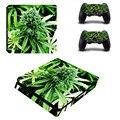 Зеленые Листья Винил Наклейку Кожи для PS4 Slim + 2 ШТ. Контроллер Защитный Скины Наклейки Для Sony Playstation 4 Тонкий
